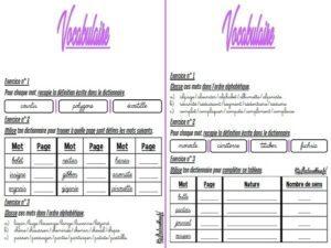 Les fiches d'exercices (CM/Vocabulaire)