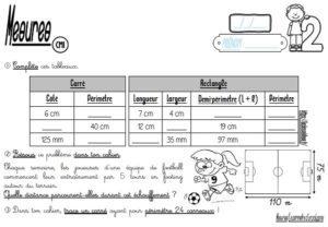 Les fiches d'exercices (CM/Mesures/Le périmètre d'un polygone)