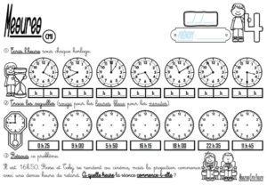 Les fiches d'exercices (CM1/Mesures/Lire l'heure)