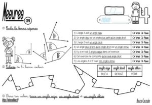 Les fiches d'exercices (CM/Mesures/Les angles)