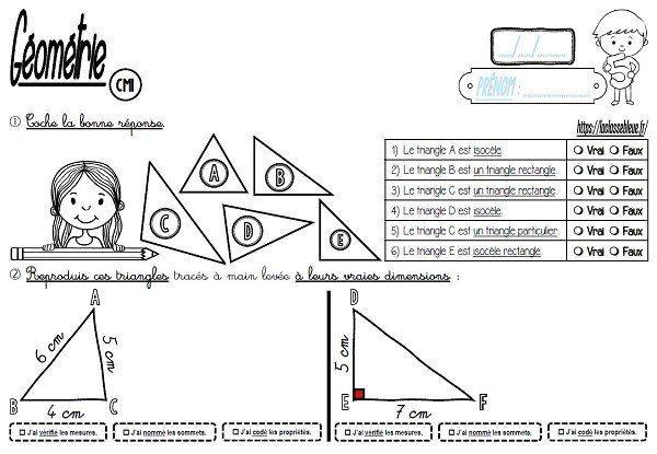 Cm Geometrie Les Triangles Les Fiches D Activite Laclassebleue