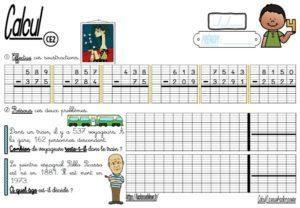 Les fiches d'exercices (CE2/Calcul/La soustraction posée)