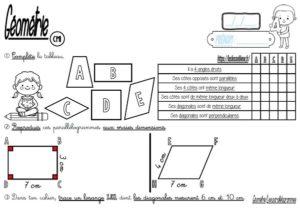 Les parallélogrammes (CM/Géométrie/Les fiches d'exercices)