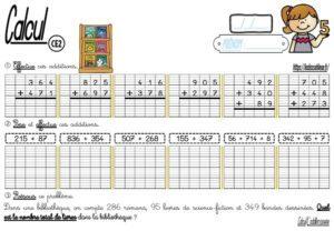 Les fiches d'exercices (CE2/Calcul/L'addition posée)