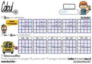 Les fiches d'exercices (CE1/Calcul/La soustraction)