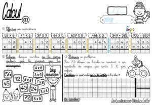 Les fiches d'exercices (CE2/Calcul/La multiplication posée/Multiplicateur à un chiffre)
