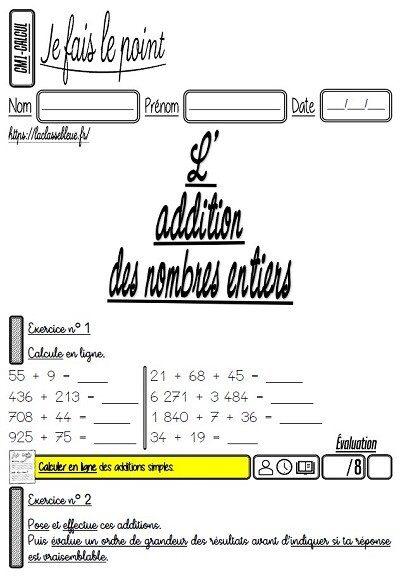 Cm Calcul Les Evaluations Laclassebleue