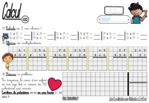 Les fiches d'exercices (CE2/Calcul/La multiplication posée/Multiplicateur à deux chiffres)