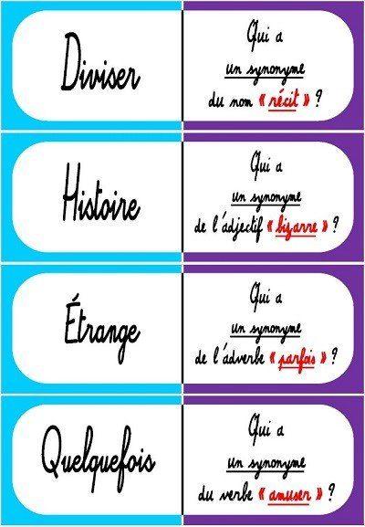 Cm Vocabulaire Les Synonymes Les Jeux De Dominos Laclassebleue