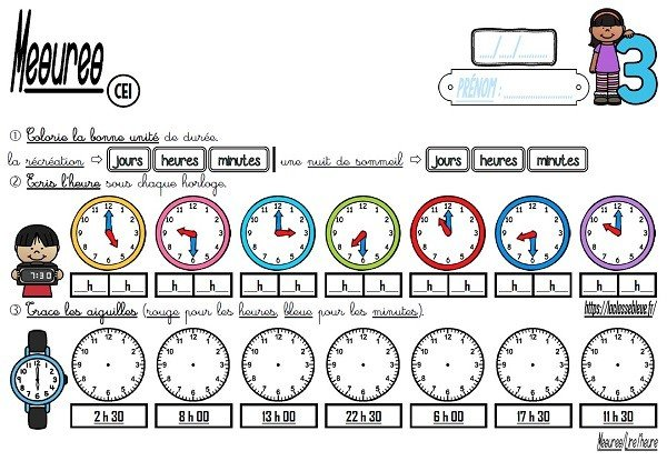 CE1-Mesures-Lire l'heure-Les fiches d'activité - laclassebleue