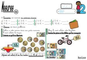 Les fiches d'exercices (CE2/Mesures/La monnaie)