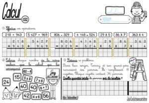 Les fiches d'exercices (CE2/Calcul/L'addition, la soustraction et la multiplication)