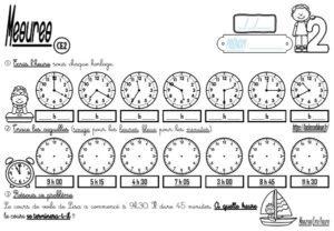 Les fiches d'exercices (CE2/Mesures/Lire l'heure)