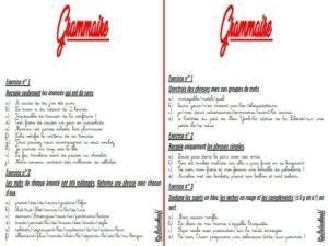 Les fiches d'exercices (CM/Grammaire)