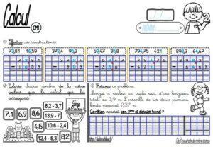 Les fiches d'exercices (CM/Calcul/La soustraction des nombres décimaux)